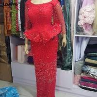 Sexy Elegant Long Sleeve Red Mermaid Formal Evening Dress Beading Pearl Kaftan Turkish Gowns Dresses Abiye 2018