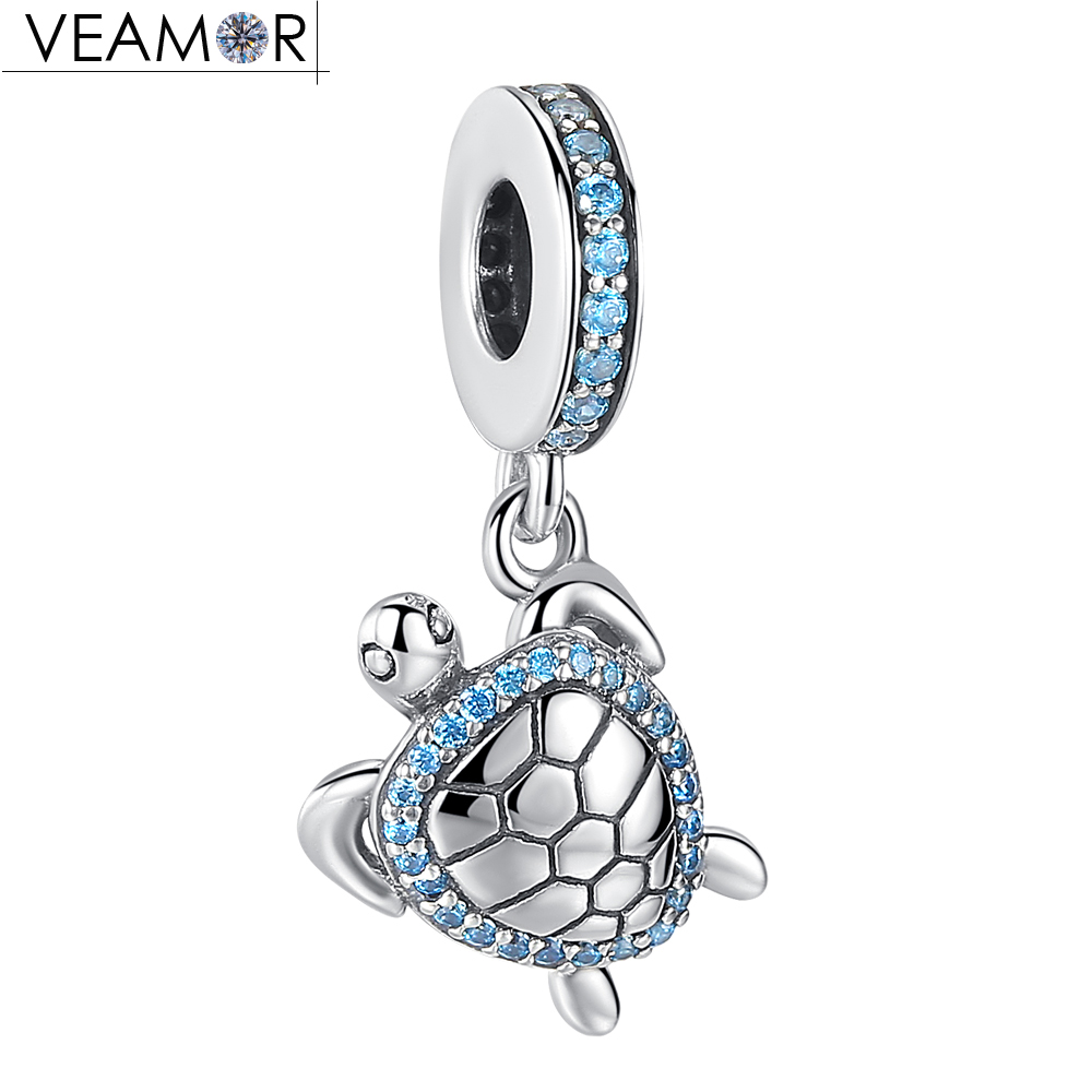VEAMOR Original 925 Sterling Silver Sea Turtle Pendant Charms Fit Pandora Bracelets Summer Blue CZ Animal Turtle Charm Beads 925 sterling silver sea turtle charm beads fit bracelets original animal turtle clear cz bead diy jewelry pas147