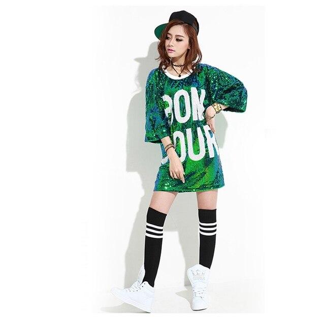 Mujeres lentejuelas Camisetas femenino casual mejores amigos Camiseta larga  hip-hop poleras mujer paillette Tops 7ef48206ab6
