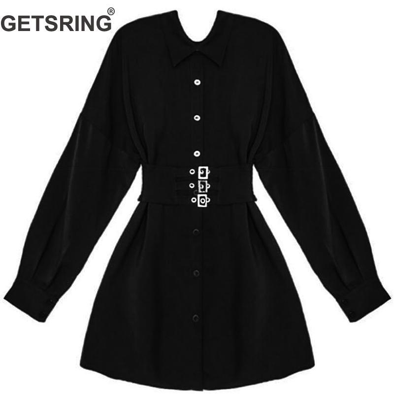 128e69c08b7 Negro Mujeres Las Salvaje Blusa Cuello Con Getsring En Moda 2019 Casual Blusas  Black Nueva Sólido Camisa Vintage Cinturón De V Larga Color 7qw7E84