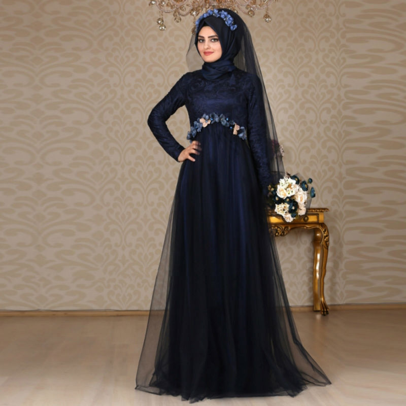 2016 Custom Made Muslim Evening Dresses Navy Blue Turkish Islamic Women Formal Long Dress With font
