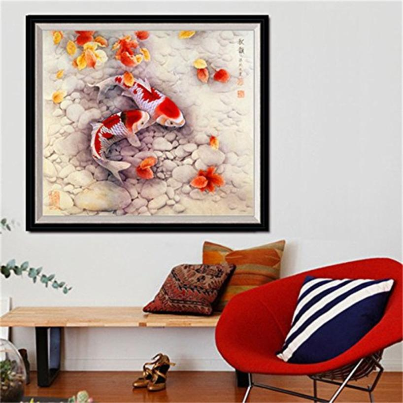 House Decoration Craft Kissing Fish Home Furnishings: 2018 DIY 5D Diamond Embroidery Painting Fish Cross Stitch