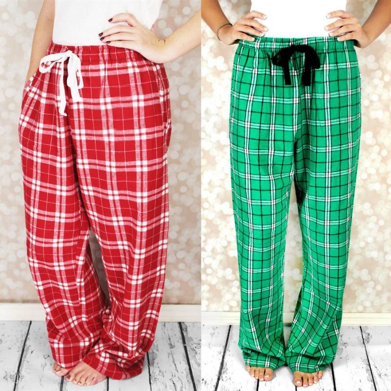 Plaid Women Ladies Loose Lounge Sleep Bottoms Comfortable Lightweight Women Autumn Winter Pyjama Bottoms Nightwear Sleep Pants