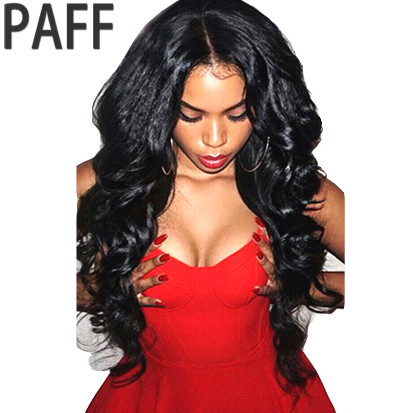 "36C U Part Human Hair Wigs For Black Women Body Wave 100% Brazilian Non Nemy Hair Middle Part 1*3 ""Natural Color Freeshiping"