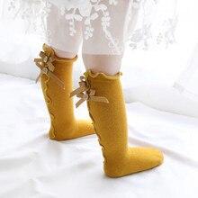 Новые детские носки, Вязаные гольфы с большим бантом для маленьких девочек, мягкие хлопковые кружевные детские носки, детские носки для маленьких девочек, kniekousen meisje