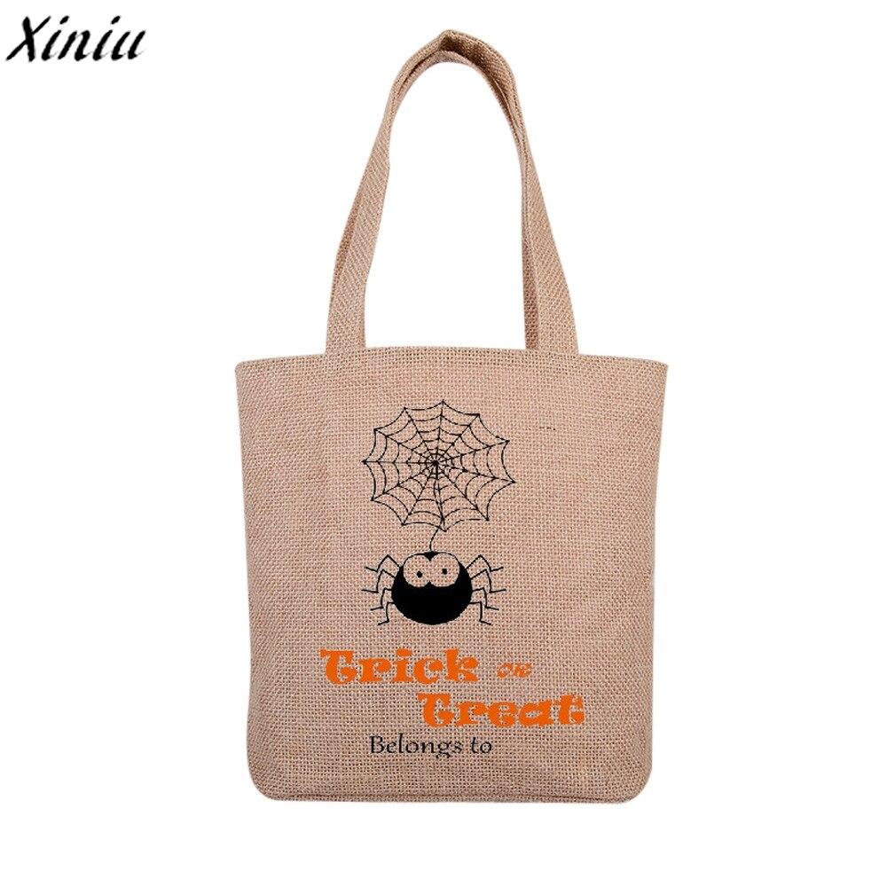 Halloween Candy Bag Handbag Printing Canvas Casual Tote Shopping Bag Beach Bags Bolsas Feminina #7831