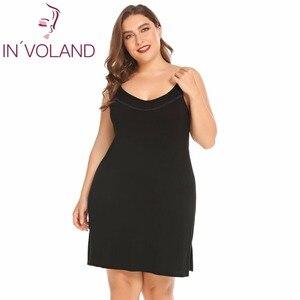 Image 3 - INVOLAND femmes Slip robe de nuit grande taille XL 5XL été salon Chemise à bretelles grande Chemise de nuit robes robes oversize