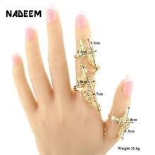 ade6351a0fea Venta caliente de la vendimia cadena de la joyería del Color del oro dos  anillos de dedo de la manera Hohemia mujeres enlace dob.