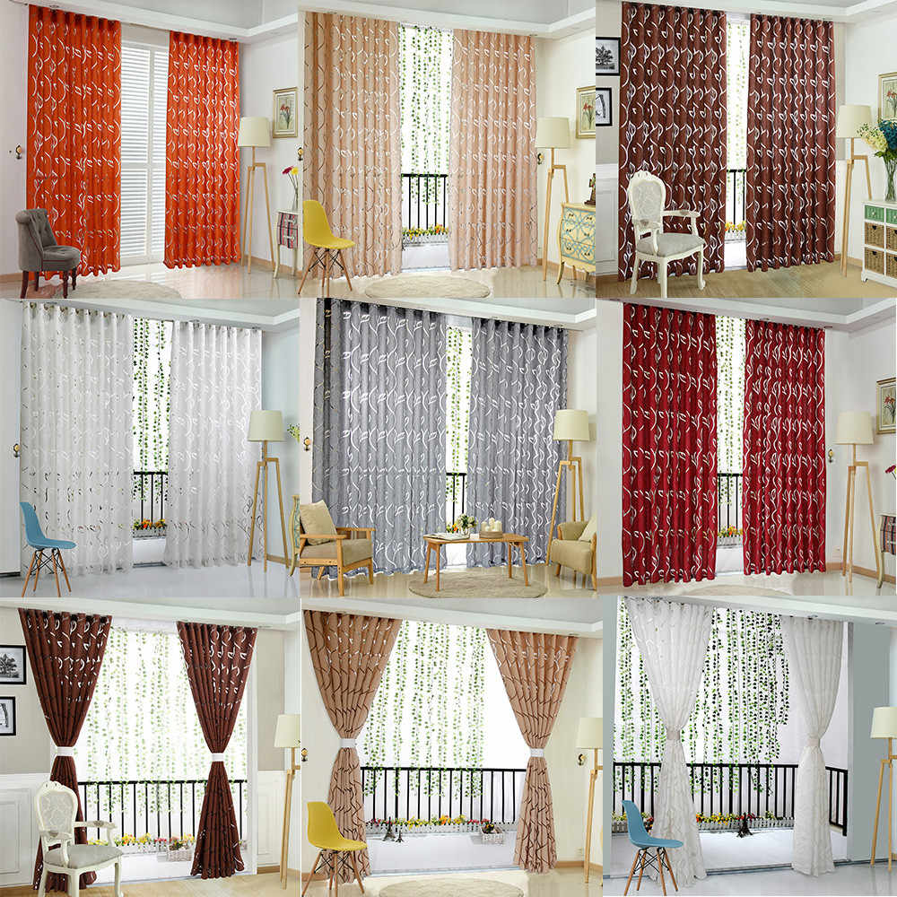 2019 New Novel Fashion Hot 1 PCS Vines Leaves Tulle Door Window Curtain Drape Panel Sheer Scarf Valances Home Decor