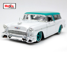 Maisto 1:18 1955 Chevrolet NOMAD White vintage car model Diecast Model Car Toy New In Box Free Shipping NEW ARRIVAL 32613 maisto 1 18 mini cooper sun roof diecast model car toy new in box free shipping 31656