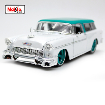 Maisto 1:18 1955 Chevrolet NOMAD White vintage car model Diecast Model Car Toy New In Box Free Shipping NEW ARRIVAL 32613