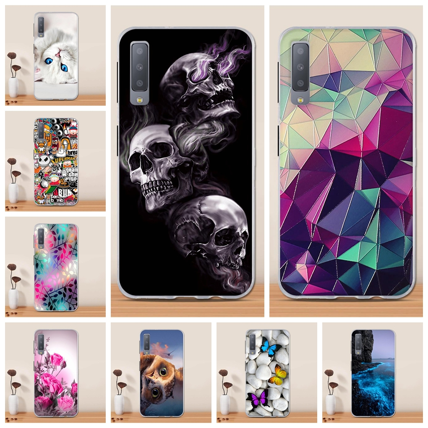 Thin Transparent Silicone Compatible with Samsung A7 2018,Non Slip Soft TPU Ultra Clear Gel Rubber Frame Colorful Flexible Bumper Cute 3D Romantic Flower Animal Cartoon Design Pattern