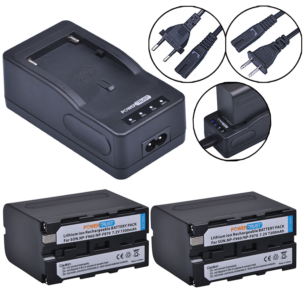 2x 7200mAh NP-F970 NP-F960 NP F970 F960 Camera Battery + LED Rapid Charger For Sony CCD-TR200 TR215 SC5 DCR-TR7000 TR8000 TV900 durapro 4pcs np f960 np f970 battery lcd ultra quick charger for sony hvr hd1000 v1j v1j ccd trv26e dcr tr8000 plm a55 hvr v1u