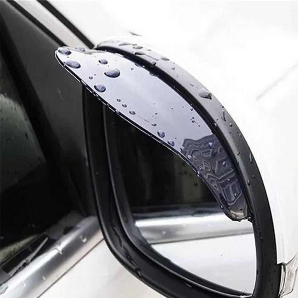 Black 2pcs PVC Car Rear View Mirror Sticker Rain Eyebrow Weatherstrip Auto Mirror Rain Shield Shade Cover Protector Guard(China)