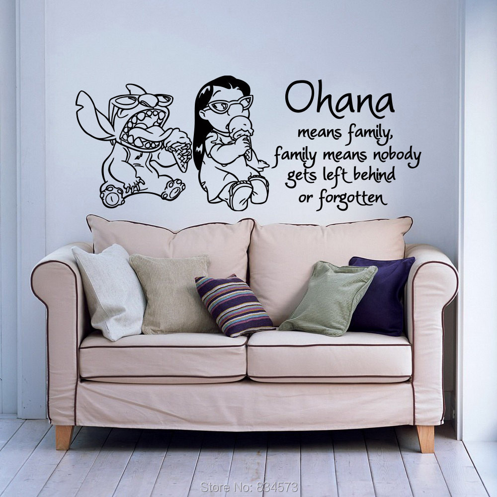 wall decal family art bedroom decor ohana means family quote wall art sticker decal home diy decoration decor wall mural removable bedroom