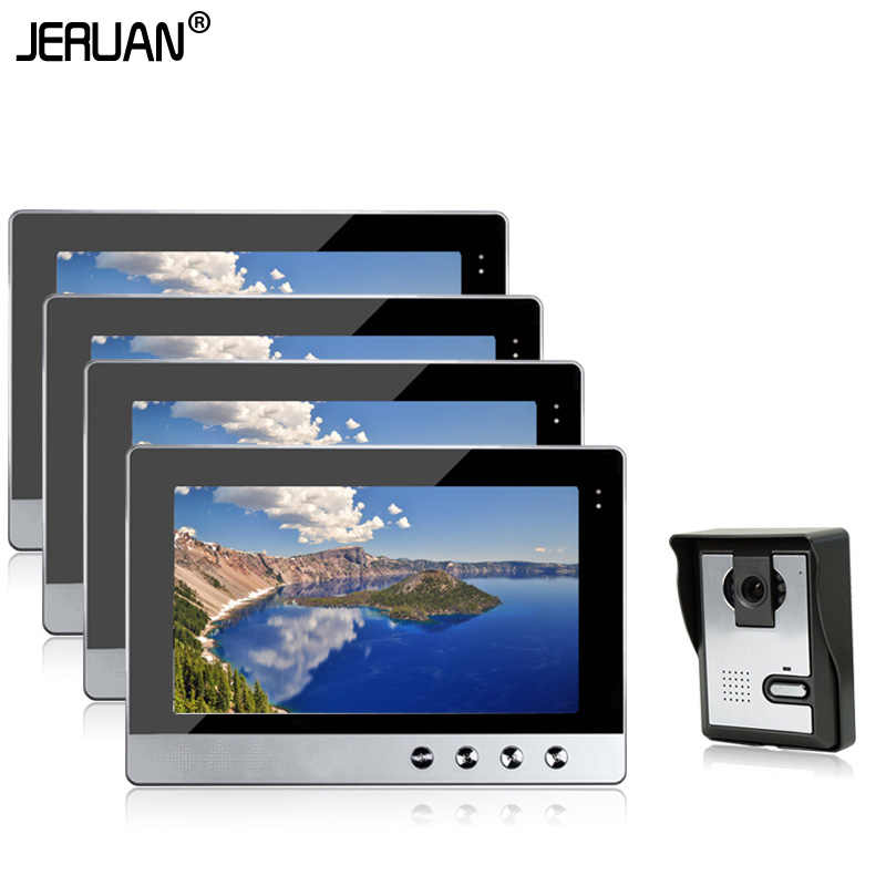 JERUAN New Home Wired 10 TFT Video Door Phone Intercom Kit With 4 Screens + 1 Night Vision Doorbell Camera In Stock jeruan new doorbell intercom doorphone wireless video door phone with memory image station outdoor night vision function