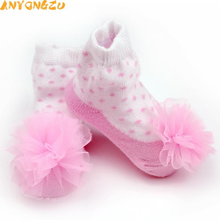 3 пара/лот anyongzu маленьких Обувь для девочек Новинка Носки для малышей точка жаккардовые носки для девочек Детские танцы Носки 0-12 м