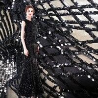 New Elastic Yarn Embroidery Sequin Cloth Black Elegant Evening Dress Sub Lace Fabric Bazin Riche Getzner Telas Por Metros