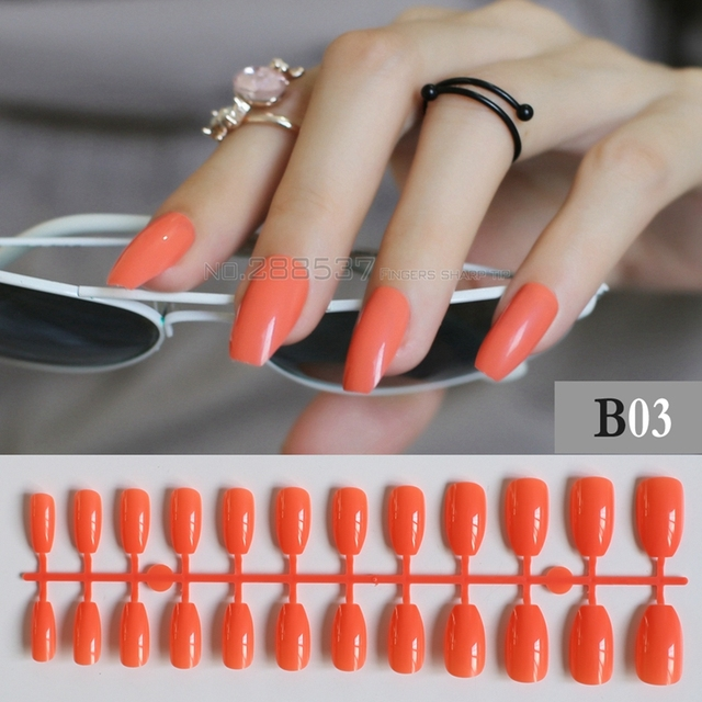 Orange brun Plein Nail Conseils Simple Bureau Rouge Confortable Ballerine  Faux ongles 24 pcs Cercueil Dessins