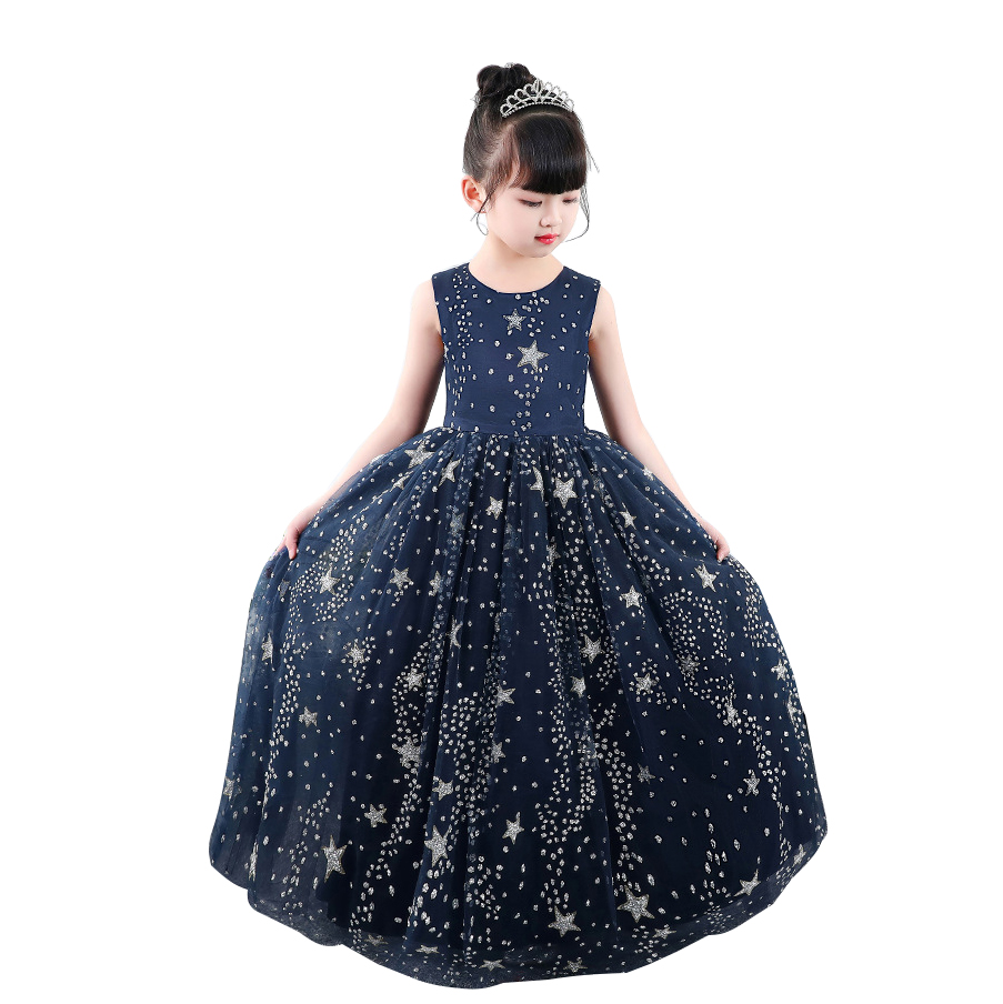 O-neck Sleeveless 4-15 Years Old Navy Clothing Child Cloth Glitter Star Kid   Flower     Girl     Dresses   for Princess Wedding Party   Dress