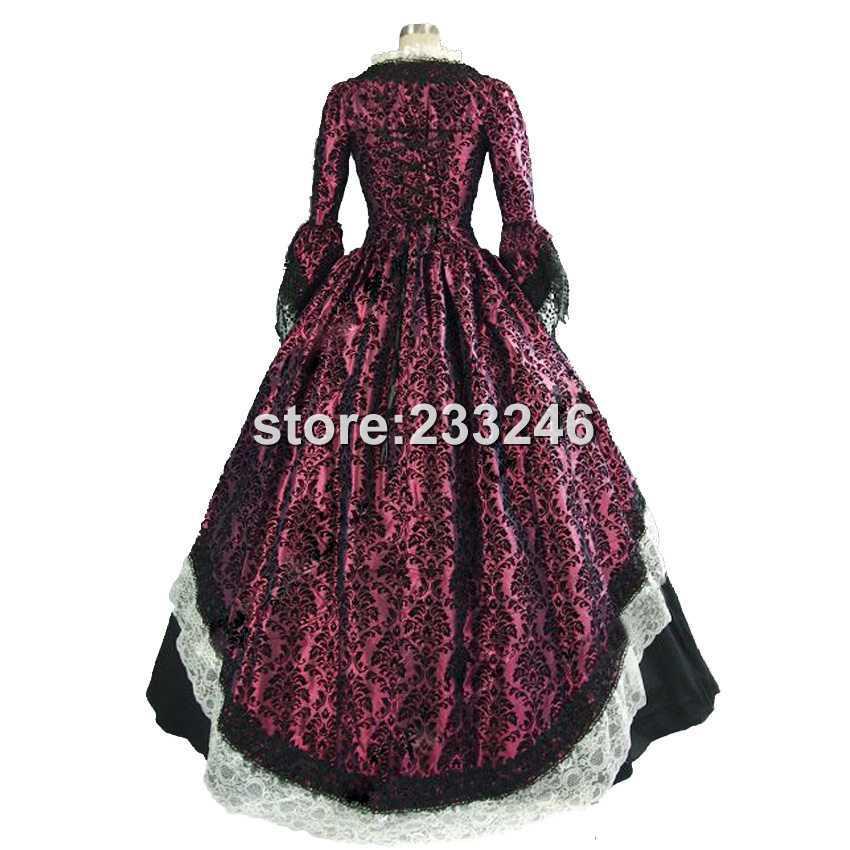 Imprimer Purple 19 And Femmes Satin Robes Siècle Période Robe Volants Longue Victorienne Théâtre À Renaissance Black 0mN8nvwO
