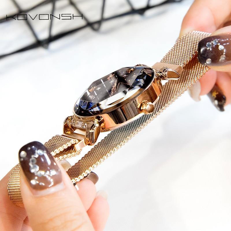 KOVONSH Fashion Women Watches Lady Watch Mesh Belt Magnetic Strap Dress Women Watch Luxury Quartz Watches Gifts Dropshipping