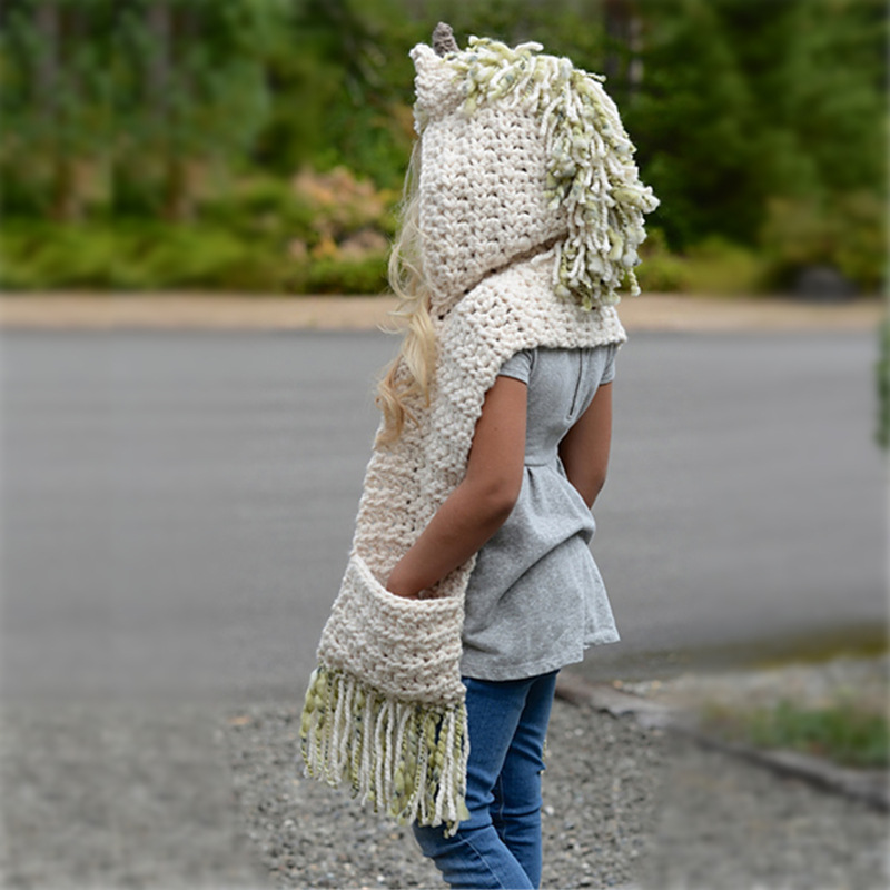 f6a2585cd2e2d Crochet Cartoon Unicorn Winter Hat with Scarf Pocket Hooded Knitting Beanie  Cosplay Photography