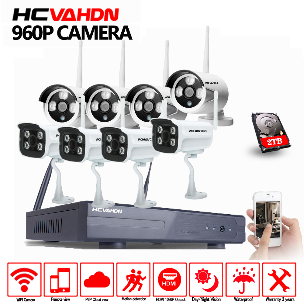 HCVAHDN 8CH CCTV System Wireless NVR Kit 8pcs 960P HD Outdoor IR Night Vision Security IP Camera WIFI Video Surveillance System title=