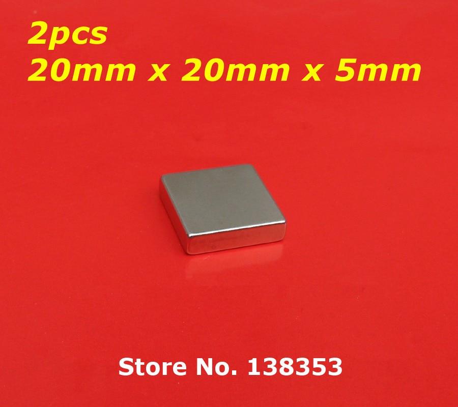 2pcs Bulk Super Strong Neodymium Square Block Magnets 20mm x 20mm x 5mm N35 Rare Earth NdFeB Cuboid Permanent Magnet