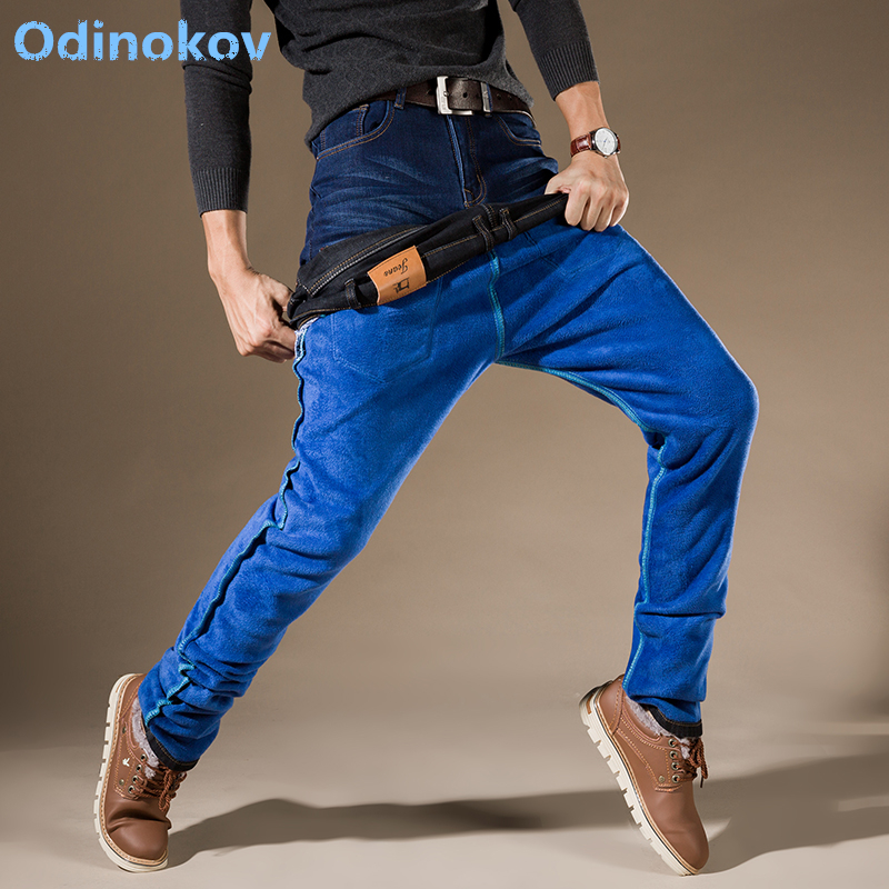 Odinokov Mens Winter Thicken Stretch Denim Jeans Warm Fleece Jean High Quality  Pants Trousers Plus Size  42 Whole Sale Jeans new arrival winter fleece warm jeans high quality men blue denim plus size pants thicken jean slim trousers 100607