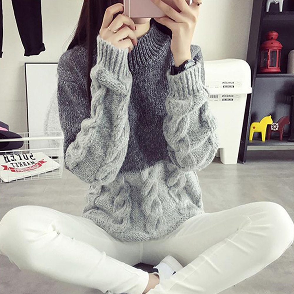 winter sweater Women Vintage Jumper Crew Neck Long Sleeve Pullover Casual Knit Sweater One Size