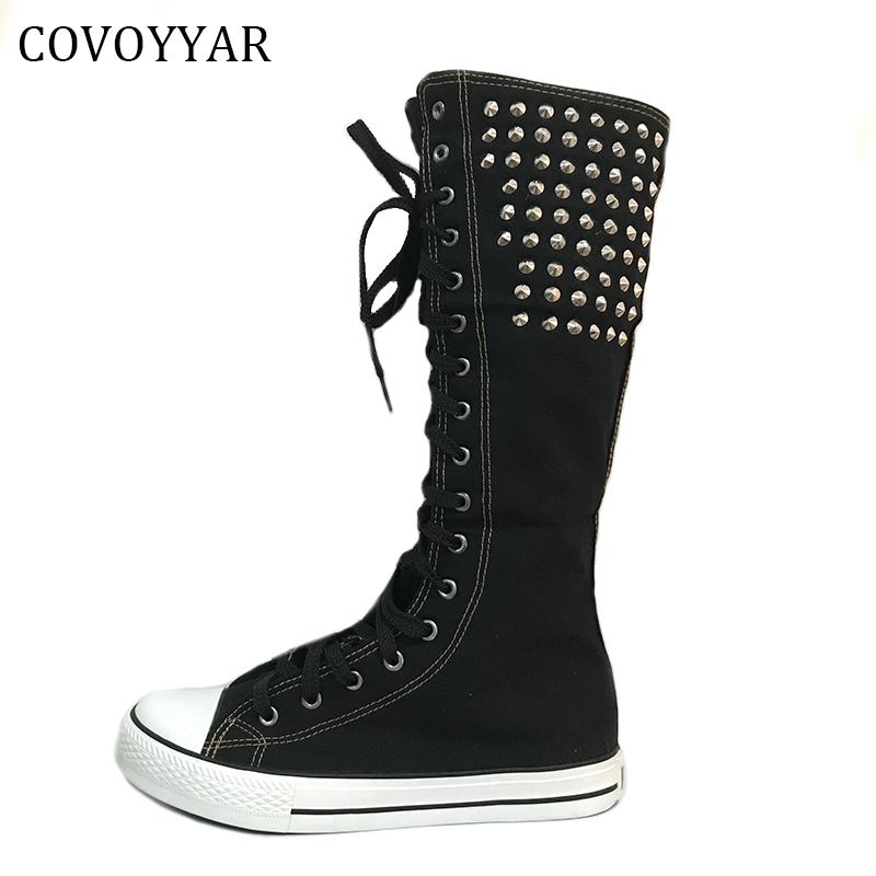 COVOYYAR Spring Autumn Lace Up Knee High Boots Women Punk Rivet High Top Flat Canvas Shoes Large Size 35-43 WBS181 sarairis 2018 spring autumn punk mixed color ankle boots lace up rivet colorful shoes woman short plush large size 33 43 lady