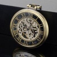 Vintage Watch Steampunk Men Skeleton Mechanical Fob Pocket Watch Clock Pendant Hand winding Men Women Chain with gift box