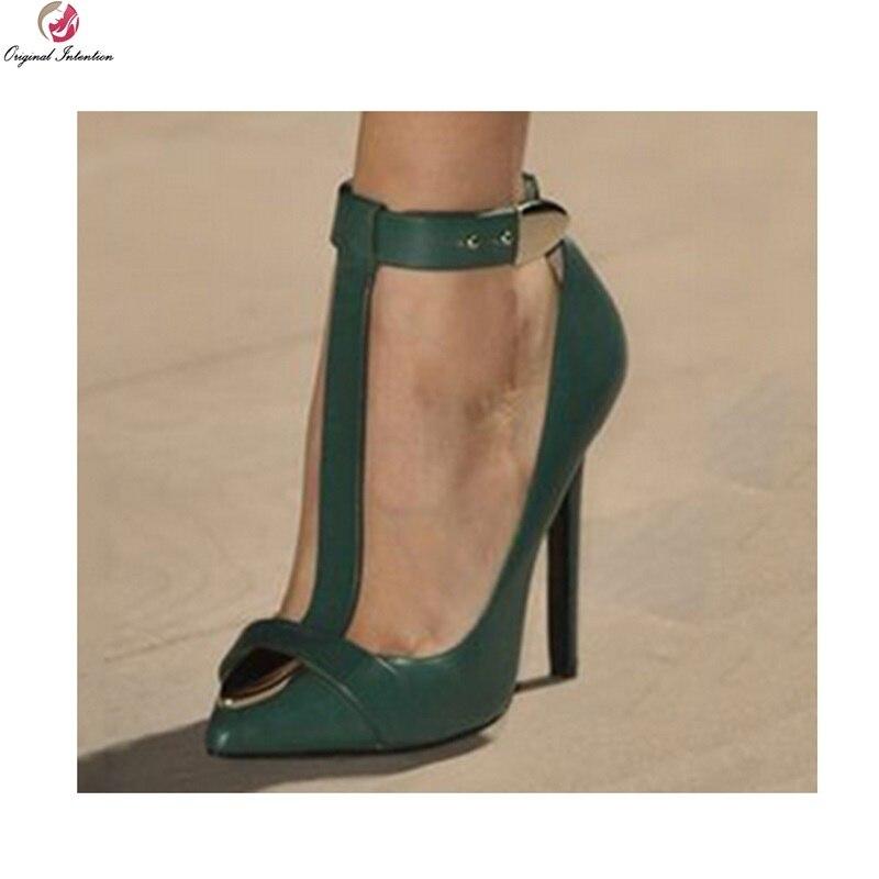 Intention originale mode sandales sangle bout pointu talons fins sandales marron vert chaussures femme grande taille 4-15