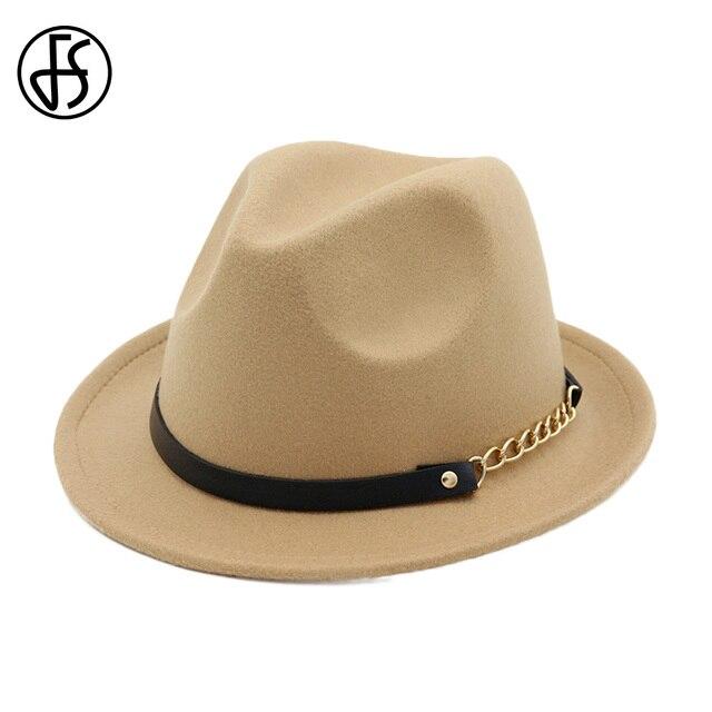 2489ad98ec9 FS Cotton Camel Fedora Hat For Woman Elegant Men Gentleman Godfather Wide  Brim Trilby Royal Top Cap Vintage Jazz Hats With Belt