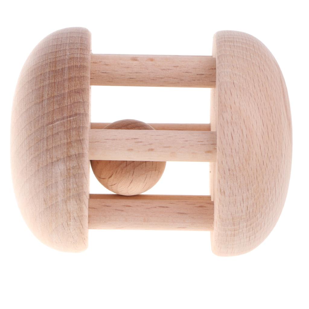Natural Wood Rattle Baby Sensory Developmental Toy Handbell Music Shakers #A