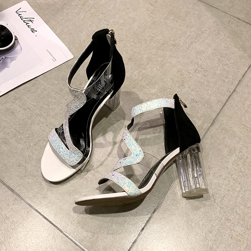 2019 sexy sequins high heeled thick with a word sequins hollow T stage catwalk female fashion sandals waterproof platform heels in Women 39 s Pumps from Shoes