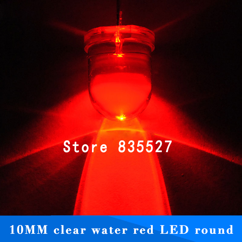 20pcs/lot F10 Round Water Clear 10mm Red LED Super Bright Light Lamp Beads Emitting Diode Diodes DIP For DIY Lights Head