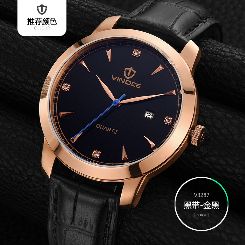 VINOCE Quartz Watch Men 2018 Fashion Mens Leather Watches Top Brand Luxury Famous Wrist Watch Male Clock Relogio Masculino vinoce mens watches top brand luxury high quality full steel quartz watch classic men fashion male clocks relogios masculino
