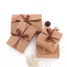 20 개/몫 자연 크 래 프 트 종이 상자 선물 포장 상자 갈색 리본 쿠키 상자 포장 과자 캔디 퍼프 상자 선물 카 톤