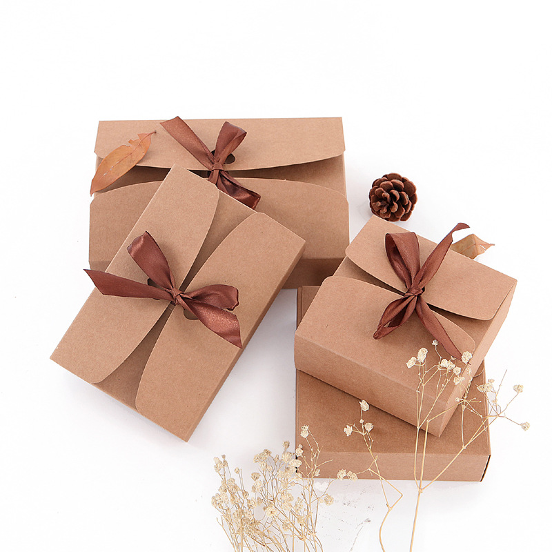 20pcs/lot Natural Kraft Paper Box Gift Packing Box Brown Ribbon Cookie Boxes Packaging For Sweets Candy Puffs Box Present Carton