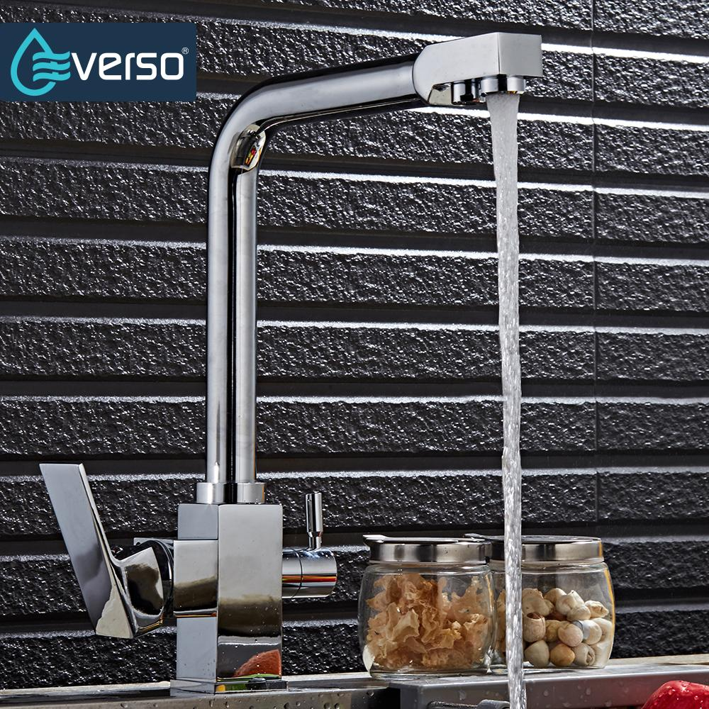 EVERSO Drinking Water Faucet Lead Free 3 Way Water Filter Purifier 360 Degree Rotation Kitchen Faucet Osmosis Sink Mixer Tap free shipping soild brass lead free kitchen faucet mixer drinking water filter tap with filtered purified water spout wholesale
