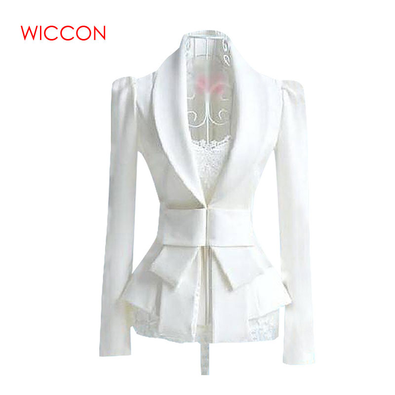 2020 Women White Blazer Feminino Spring Blazers Women Long Sleeve OL White Big Bow Ultra-Slim Suit S-XL Tops Waist Bow