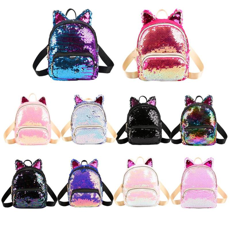 Cute Sequins Cat Ear Backpacks Women Shoulder School Bags Small Knapsack