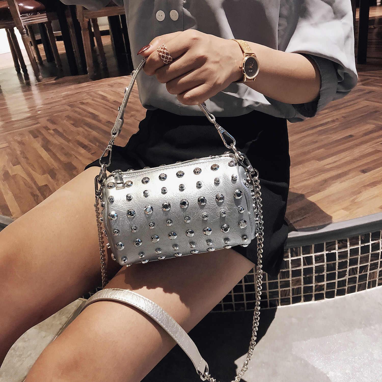 2bcb024f533c Women New Rivet Handbags Women Bags Designer Brand Female PU Leather  Crossbody Shoulder Bags