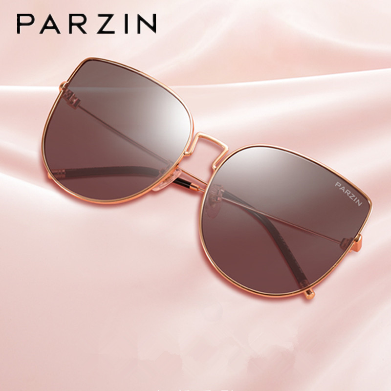 PARZIN Vintage Cat Eye Sunglasses Women New Metal Frame Ladies Shades UV400 Protection Sun Glasses For