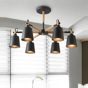 Image 2 - Lustre en bois massif et en fer, design moderne, éclairage dintérieur, luminaire décoratif De plafond, idéal pour un salon, LED