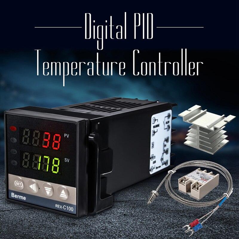 0 a 1300 graus REX-C 100 controlador de temperatura inteligente 110 a 240 v + 1 metro sonda 40a relé de estado sólido 4.5mm sensor diâmetro