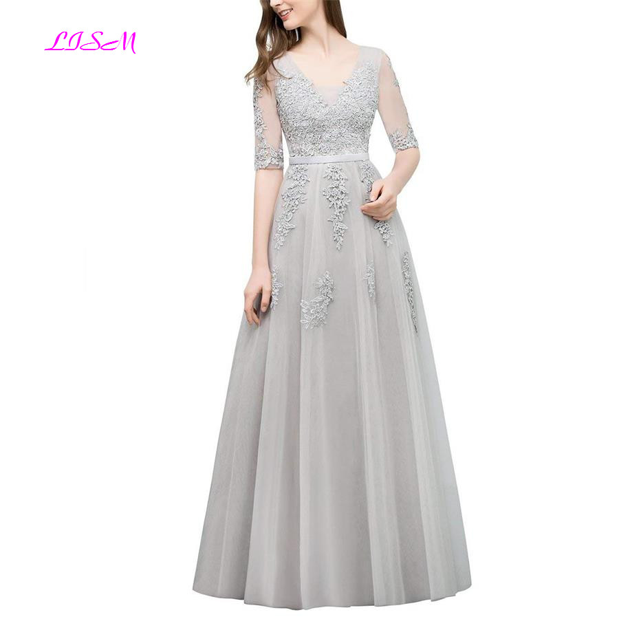 Grey   Bridesmaid     Dresses   Vestido Boda Mujer Invitada Short Sleeves Appliques Long Formal Party   Dress   A-Line Tulle Prom Gowns