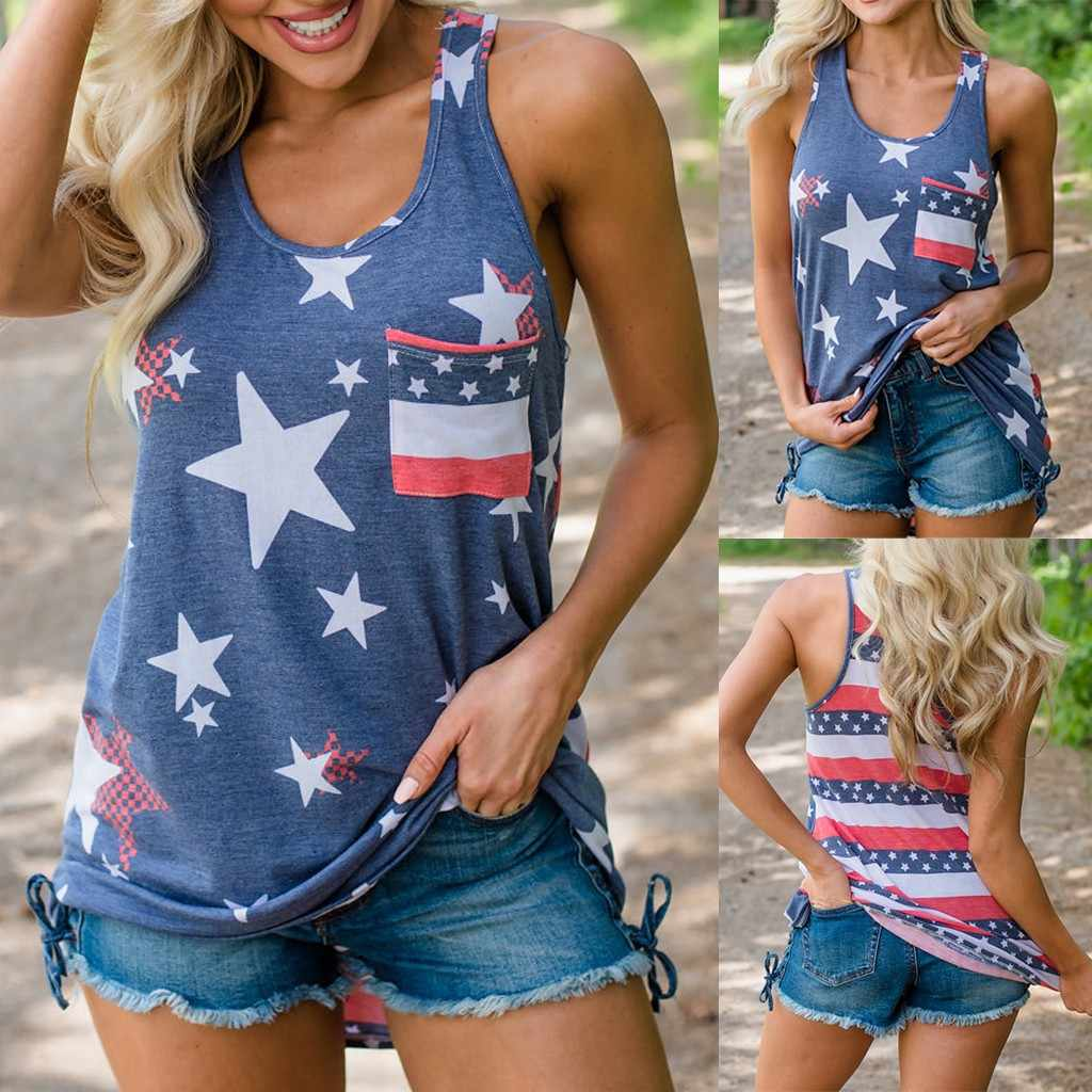 Без рукавов женские летние топы 2019 жилет Отечественной женская футболка в полоску звезда американского флага печати Летний Топ Элегантный # G6